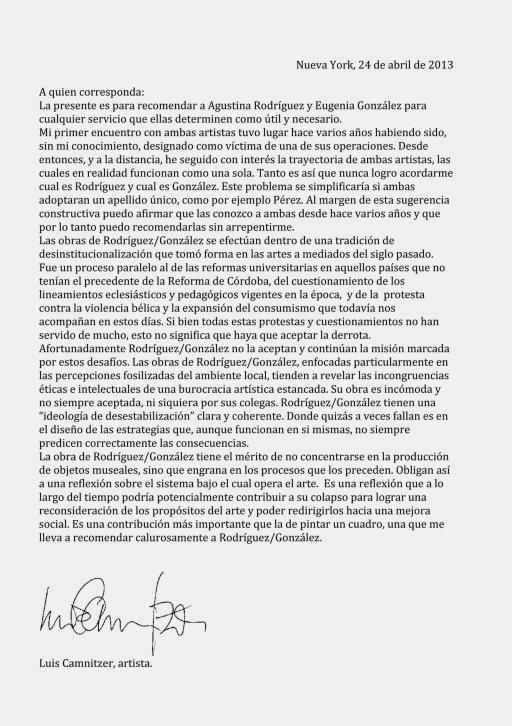 Carta recomendación Luis Camnitzer